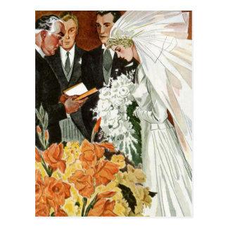 Vintage Wedding Ceremony, Bride Groom Newlyweds Postcard