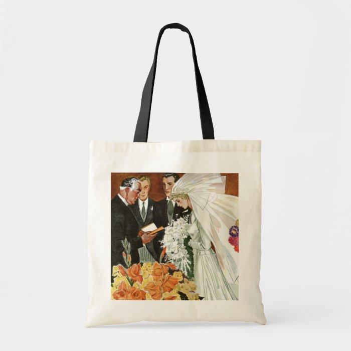 Vintage Wedding Ceremony, Bride Groom Newlyweds Tote Bag