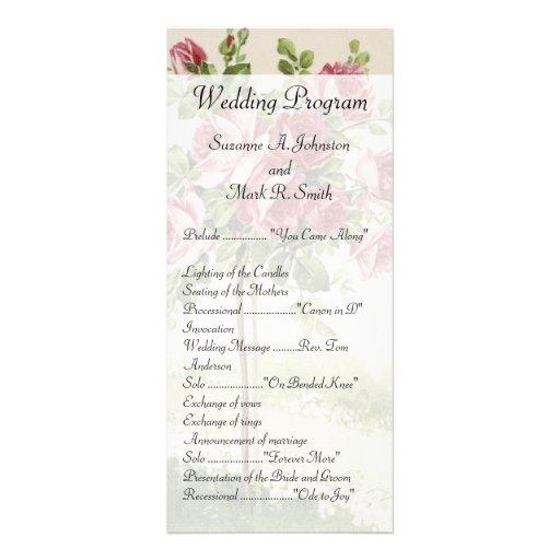 Vintage Wedding Ceremony Program Personalized Rack Card