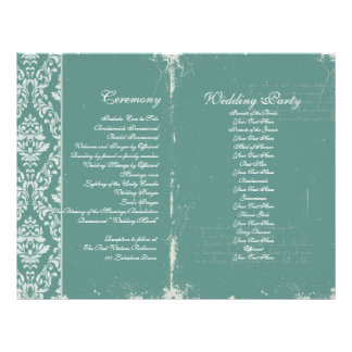 Vintage Wedding Ceremony Program Teal Flyer
