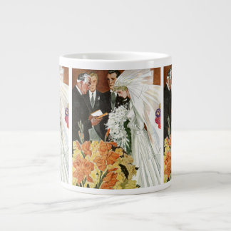Vintage Wedding Ceremony with Bride and Groom Giant Coffee Mug
