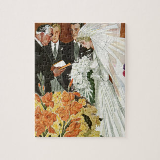 Vintage Wedding Ceremony with Bride and Groom Jigsaw Puzzle