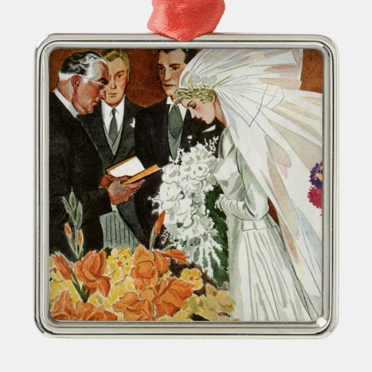 Vintage Wedding Ceremony with Bride and Groom Metal Ornament