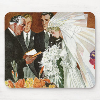 Vintage Wedding Ceremony with Bride and Groom Mouse Pad