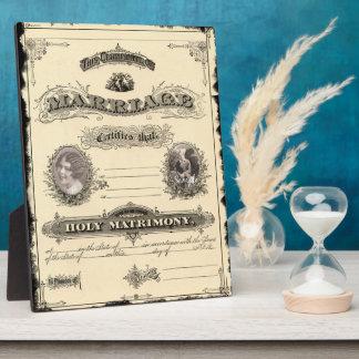 Vintage Wedding Certificate Art Plaque