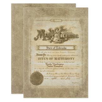 Vintage Wedding Certificate Card