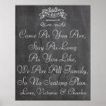 Vintage Wedding Chalkboard Guest Seating Chart Poster