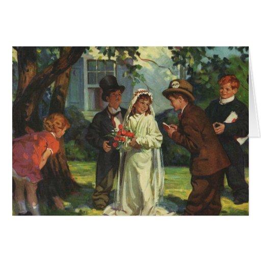 Vintage Wedding Child Bride Groom Pretend Ceremony Greeting Cards