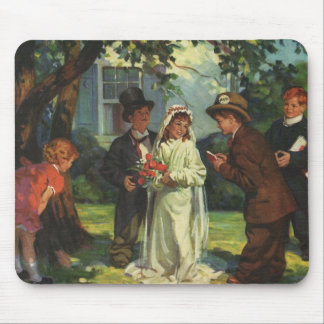 Vintage Wedding, Children as Bride and Groom Mouse Pad