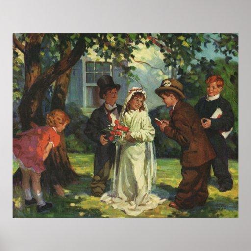 Vintage Wedding, Children as Bride and Groom Poster