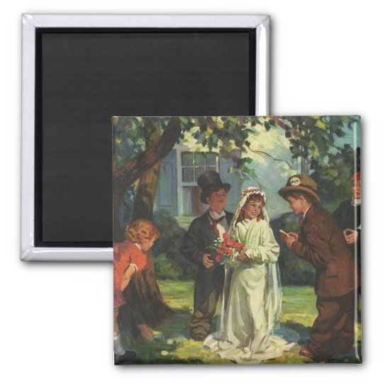 Vintage Wedding, Children Pretend Bride and Groom Magnet