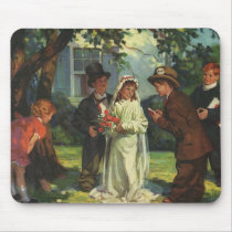Vintage Wedding, Children Pretend Bride and Groom Mouse Pad
