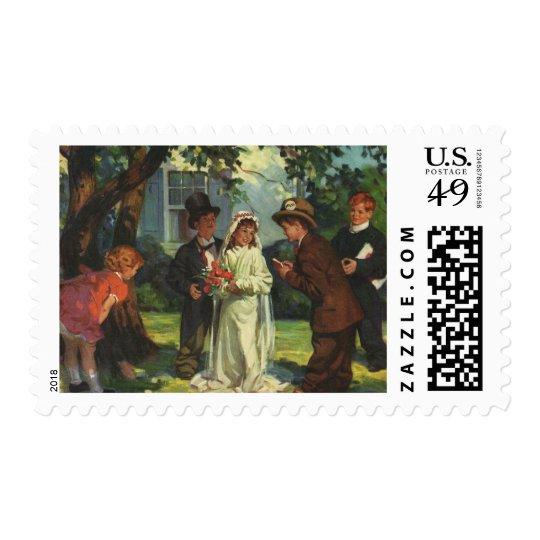 Vintage Wedding, Children Pretend Bride and Groom Postage