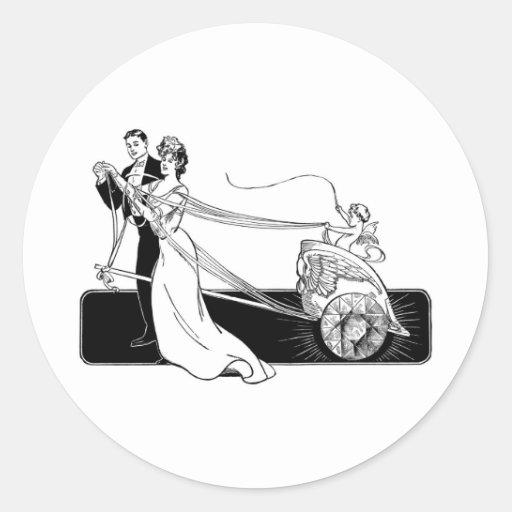 Vintage Wedding Couple Round Stickers
