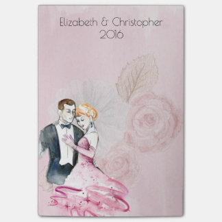 Vintage Wedding Couple With Pink Rose Personalized Post-it® Notes