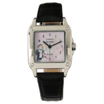 Vintage Wedding Couple With Pink Rose Personalized Wrist Watch