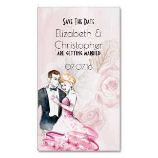 Vintage Wedding Couple With Rose Save The Date Magnetic Business Card