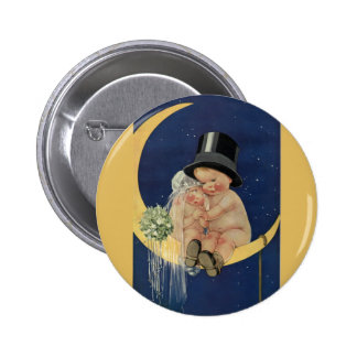 Vintage Wedding, Cute Bride and Groom on a Moon Button