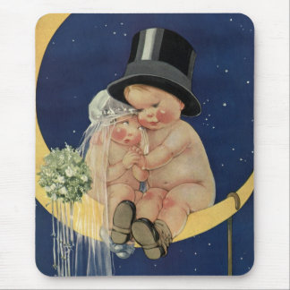 Vintage Wedding, Cute Bride and Groom on a Moon Mouse Pad
