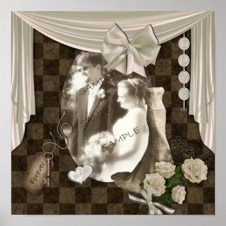 Vintage Wedding Digital Scrapbook Page Poster