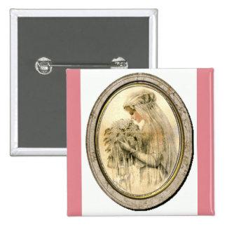 Vintage Wedding Dress Victorian Bride Pink Button