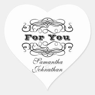 """Vintage wedding favor """"For you"""" Heart Sticker"""