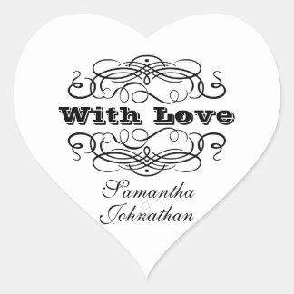 Vintage wedding favor with love heart sticker