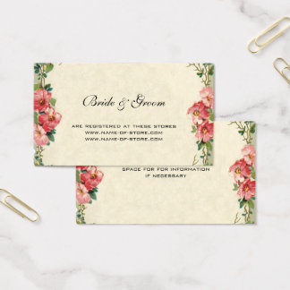 Vintage Wedding, Floral Flowers Pink Roses Business Card