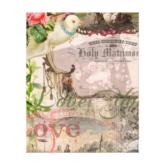 Vintage Wedding Floral Pink Canvas Print