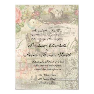 Vintage Wedding Floral Pink Card