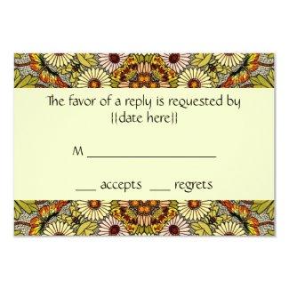 Vintage Wedding, Garden Flowers Floral Butterflies 3.5x5 Paper Invitation Card