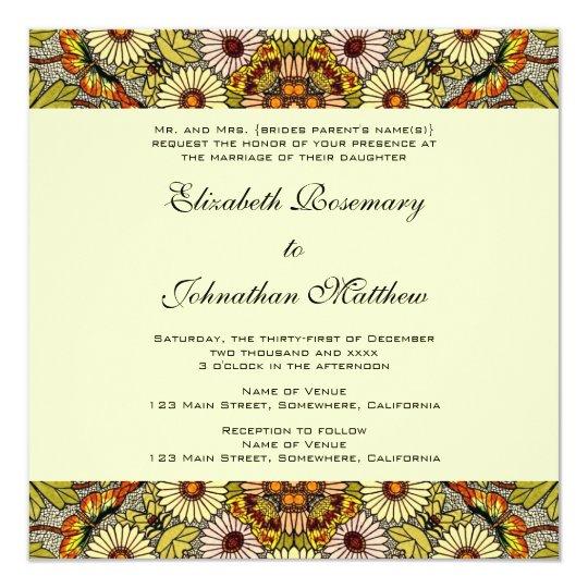 Vintage Wedding, Garden Flowers Floral Butterflies Card