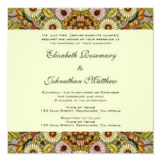 Vintage Wedding, Garden Flowers Floral Butterflies Invitation