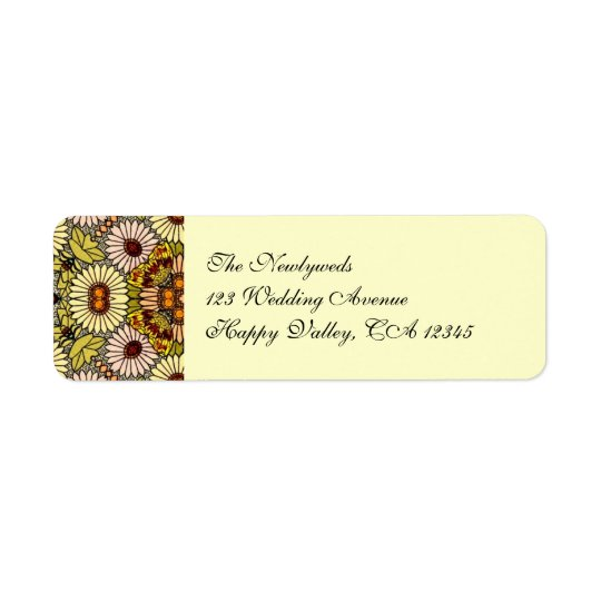 Vintage Wedding, Garden Flowers Floral Butterflies Label