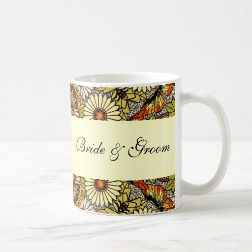 Vintage Wedding, Garden Flowers Floral Butterflies Classic White Coffee Mug
