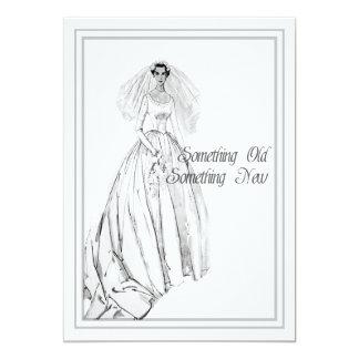 Vintage Wedding Gown Bridal Shower Something Old 5x7 Paper Invitation Card