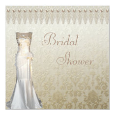 Vintage Wedding Gown Pearls & Lace Bridal Shower 5.25x5.25 Square Paper Invitation Card at Zazzle