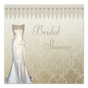 Pearls And Lace Bridal Shower Invitations | Zazzle