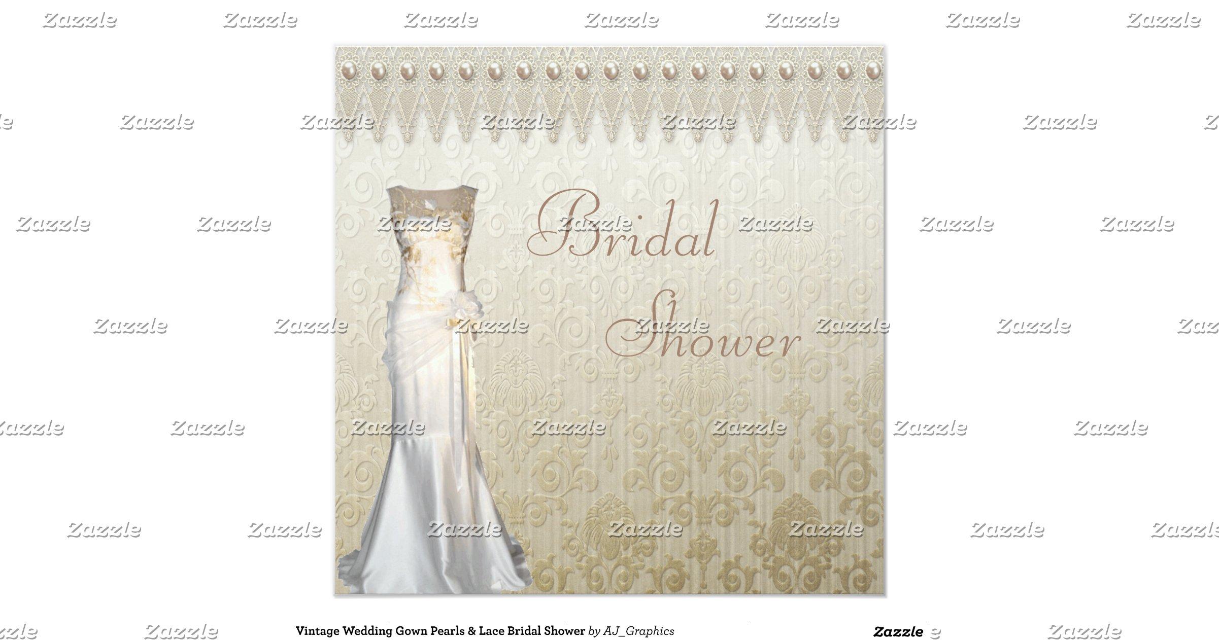 lace wedding shower invitations vintage wedding gown pearls lace bridal shower invitation