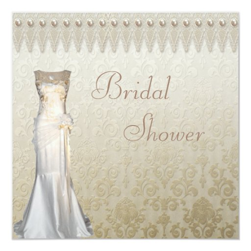 Vintage wedding gown pearls lace bridal shower for Classic bridal shower invitations