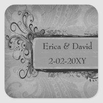 vintage wedding gray envelopes seals