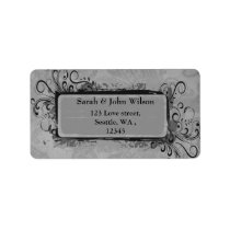 vintage wedding gray, return address label
