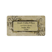 vintage wedding green, return address label