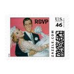 Vintage Wedding, Groom Bride, Newlyweds, RSVP Postage