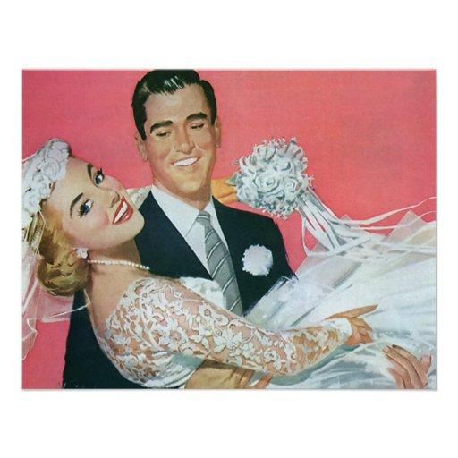 Vintage Wedding, Groom Carrying Bride, Newlyweds Personalized Invitation