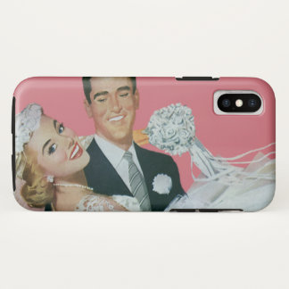 Vintage Wedding, Groom Carrying Bride, Newlyweds iPhone X Case
