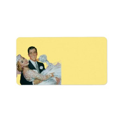 Vintage Wedding, Groom Carrying Bride, Newlyweds Personalized Address Labels