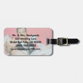Vintage Wedding, Groom Carrying Bride, Newlyweds Tags For Bags