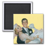 Vintage Wedding, Groom Carrying Bride, Newlyweds Refrigerator Magnets