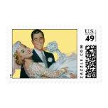 Vintage Wedding, Groom Carrying Bride, Newlyweds Postage Stamps